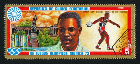 EQUATORIAL GUINEA - CIRCA 1972: stamp printed by Equatorial Guinea, shows Bavaria Statue and Decathlon, circa 1972