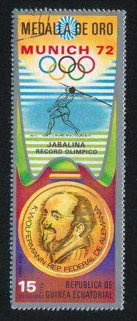 EQUATORIAL GUINEA - CIRCA 1972: stamp printed by Equatorial Guinea, shows Javelin throw and Gold Medal, circa 1972