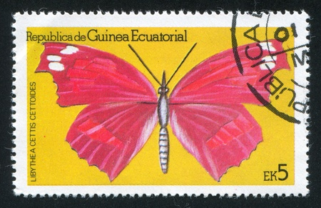 EQUATORIAL GUINEA - CIRCA 1972: stamp printed by Equatorial Guinea, shows Libythea celtis Butterfly, circa 1972 Stock Photo - 16337892