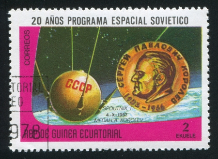 EQUATORIAL GUINEA - CIRCA 1972: stamp printed by Equatorial Guinea, shows Sputnik and Korolev Medal, circa 1972 Stock Photo - 16337879