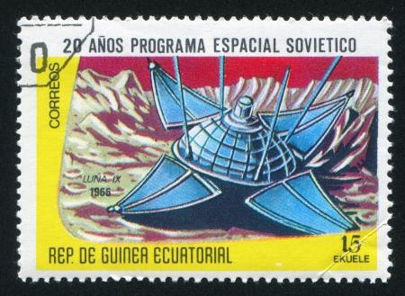 EQUATORIAL GUINEA - CIRCA 1972: stamp printed by Equatorial Guinea, shows Luna IX Spaceship, circa 1972 Stock Photo - 16337797
