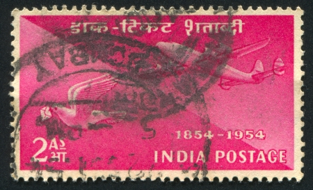 INDIA - CIRCA 1954: stamp printed by India, shows plane and pigeon, circa 1954