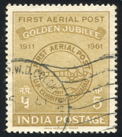 INDIA - CIRCA 1961: stamp printed by India, shows First Airmail Postmark, circa 1961 Stock Photo - 16337772