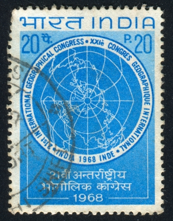 INDIA - CIRCA 1968: stamp printed by India, shows World Map, circa 1968 Stock Photo - 16337855