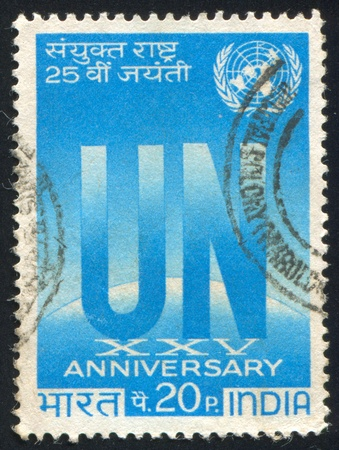 INDIA - CIRCA 1970: stamp printed by India, shows  UN Emblem, circa 1970 Stock Photo - 16337781