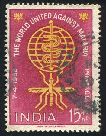 INDIA - CIRCA 1962: stamp printed by India, shows Malaria Eradication Emblem, circa 1962