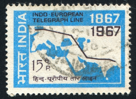 INDIA - CIRCA 1967: stamp printed by India, shows Map Showing Indo-European Telegraph, circa 1967 Stock Photo - 16337796