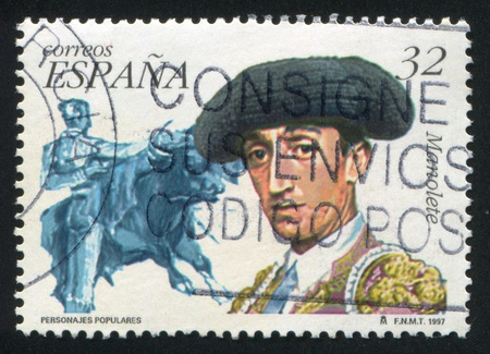 mortally: SPAIN - CIRCA 1997: stamp printed by Spain, shows Manuel Manolette, circa 1997