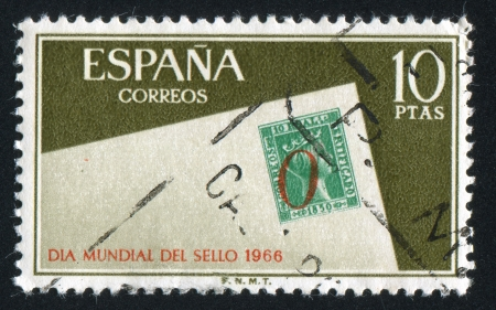 SPAIN - CIRCA 1966: stamp printed by Spain, shows Stamp day, circa 1966 Stock Photo - 16337753