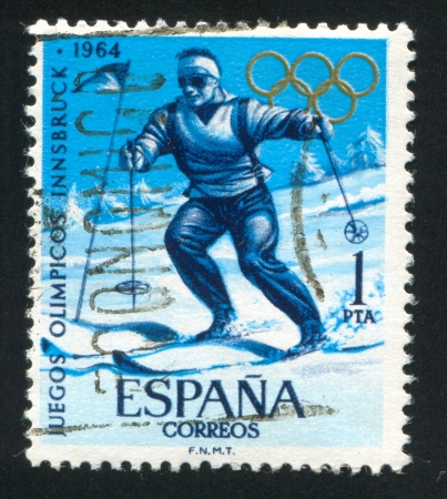 SPAIN - CIRCA 1964: stamp printed by Spain, shows Slalom Sportsman at the Olympic Games, circa 1964