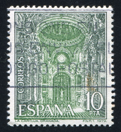 SPAIN - CIRCA 1979: stamp printed by Spain, shows Interior of Carthusian Monastery Church, circa 1979 Stock Photo - 16337932