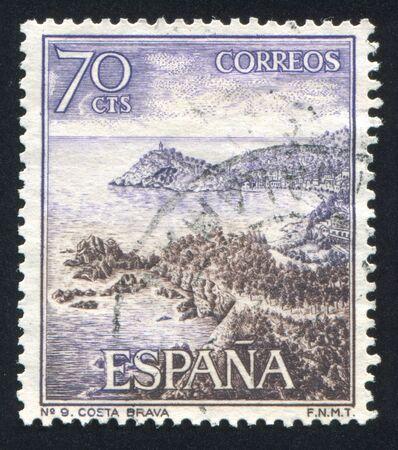 brink: SPAIN - CIRCA 1964: stamp printed by Spain, shows Costa Brava, circa 1964