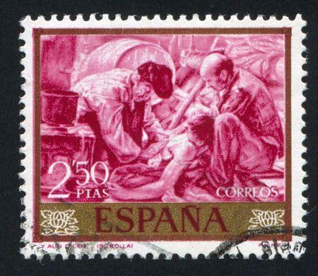 sorolla: SPAIN - CIRCA 1964: stamp printed by Spain, shows Fishermen by Joaquin Sorolla, circa 1964 Editorial