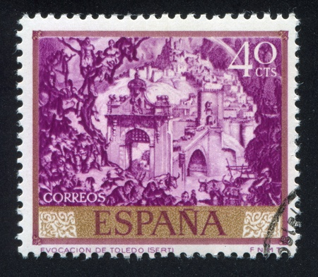 SPAIN - CIRCA 1966: stamp printed by Spain, shows Evocation of Toledo by Sert, circa 1966 Editöryel