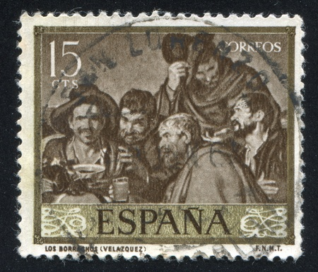velazquez: SPAIN - CIRCA 1959: stamp printed by Spain, shows The drunkers by Velazquez, circa 1959