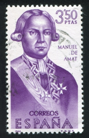 SPAIN - CIRCA 1966: stamp printed by Spain, shows Manuel de Amat, circa 1966 Stock Photo - 16337860
