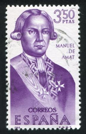 amat: SPAIN - CIRCA 1966: stamp printed by Spain, shows Manuel de Amat, circa 1966