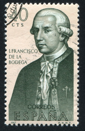 SPAIN - CIRCA 1967: stamp printed by Spain, shows Portrait of J.Francisco de la Bodega, circa 1967 Stock Photo - 16337891