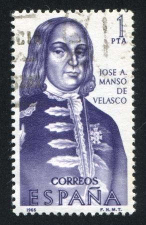 SPAIN - CIRCA 1966: stamp printed by Spain, shows Portrait of Jose A.Manso de Velasco, circa 1966 Stock Photo - 16337927