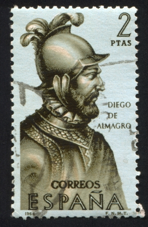 conquistador: SPAIN - CIRCA 1964: stamp printed by Spain, shows Portrait of Diego de Almagro, circa 1964 Editorial