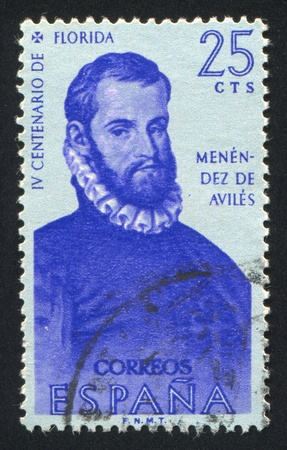 SPAIN - CIRCA 1960: stamp printed by Spain, shows Portrait of Pedro Menendez de Aviles, circa 1960 Stock Photo - 16337839
