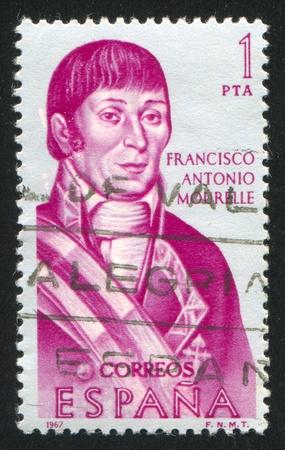 SPAIN - CIRCA 1967: stamp printed by Spain, shows Portrait of Francisco Antonio Mourelle, circa 1967 Stock Photo - 16337814