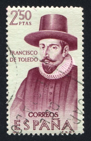 SPAIN - CIRCA 1964: stamp printed by Spain, shows Portrait of Francisco de Toledo, circa 1964 Stock Photo - 16337934