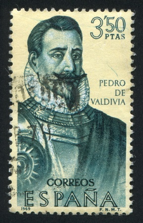 SPAIN - CIRCA 1969: stamp printed by Spain, shows Portrait of Pedro de Valdivia, circa 1969 Stock Photo - 16337854
