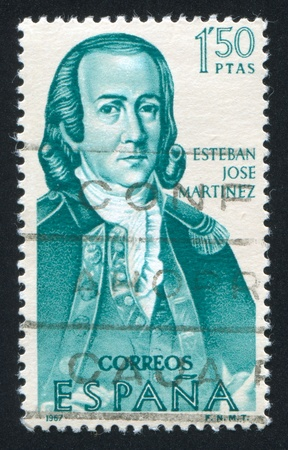 SPAIN - CIRCA 1967: stamp printed by Spain, shows Portrait of Esteban Jose Martinez, circa 1967 Stock Photo - 16337820