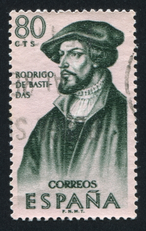 SPAIN - CIRCA 1967: stamp printed by Spain, shows Portrait of Rodrigo de Bastidas, circa 1967 Stock Photo - 16337880