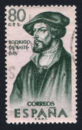 SPAIN - CIRCA 1967: stamp printed by Spain, shows Portrait of Rodrigo de Bastidas, circa 1967 Stock Photo - 16337880