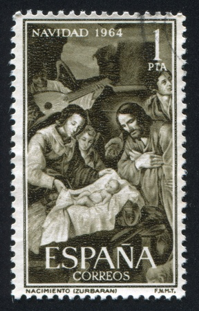 adeptness: SPAIN - CIRCA 1964: stamp printed by Spain, shows Christmas by Zurbaran, circa 1964 Editorial