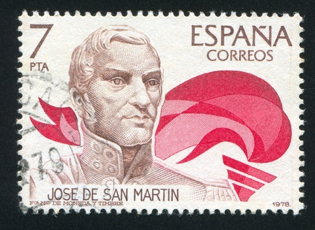 SPAIN - CIRCA 1978: stamp printed by Spain, shows Portrait of Jose de San Martin, circa 1978 Stock Photo - 16337944