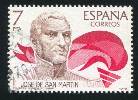 SPAIN - CIRCA 1978: stamp printed by Spain, shows Portrait of Jose de San Martin, circa 1978 Stock Photo - 16337944