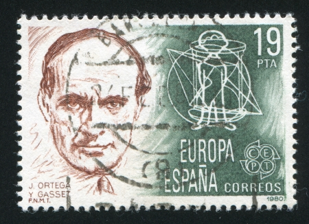 SPAIN - CIRCA 1980: stamp printed by Spain, shows Portrait of J.Ortega Y.Gasset, circa 1980 Stock Photo - 16337947