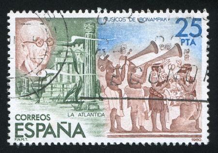 ancient atlantis: SPAIN - CIRCA 1980: stamp printed by Spain, shows Atlantis, circa 1980