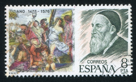 SPAIN - CIRCA 1977: stamp printed by Spain, shows Painting of Judgment and Titian portrait, circa 1977 Stock Photo - 16337805