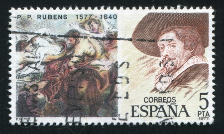 adult rape: SPAIN - CIRCA 1977: stamp printed by Spain, shows Painting of Rape of Sabine Women and Rubens portrait, circa 1977