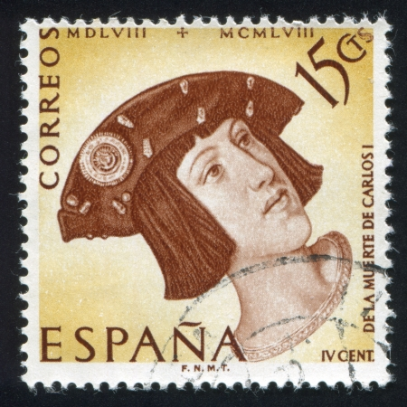 SPAIN - CIRCA 1958: stamp printed by Spain, shows Portrait of Charles V with beret, circa 1958 Stock Photo - 16337783