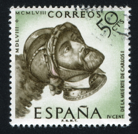 SPAIN - CIRCA 1958: stamp printed by Spain, shows Portrait of Charles V, circa 1958 Stock Photo - 16337903