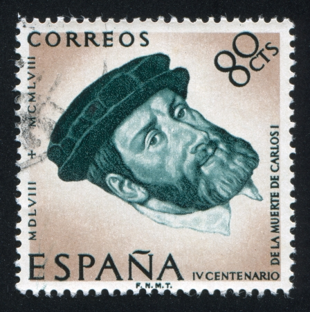 SPAIN - CIRCA 1958: stamp printed by Spain, shows Portrait of Charles V with beret, circa 1958 Stock Photo - 16337952