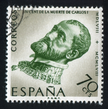 SPAIN - CIRCA 1958: stamp printed by Spain, shows Portrait of Charles V, circa 1958 Stock Photo - 16337827