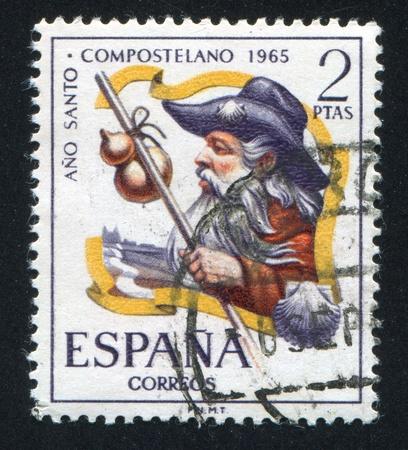 ano: SPAIN - CIRCA 1965: stamp printed by Spain, shows Pilgrim, Ano Santo Compostela, circa 1965 Editorial