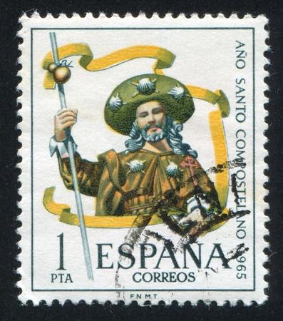 SPAIN - CIRCA 1965: stamp printed by Spain, shows Pilgrim, Compostela, Ano Santo, circa 1965 Stock Photo - 16337756