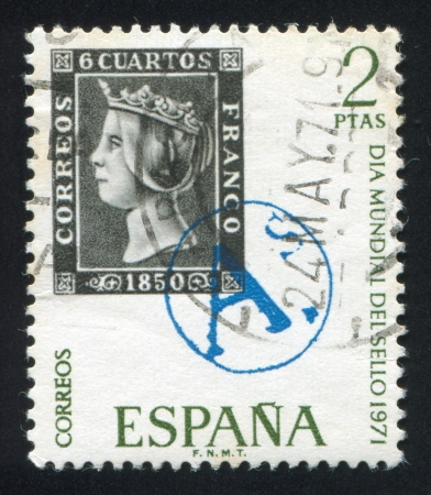 queen isabella: SPAIN - CIRCA 1971: stamp printed by Spain, shows, Queen Isabella II, circa 1971