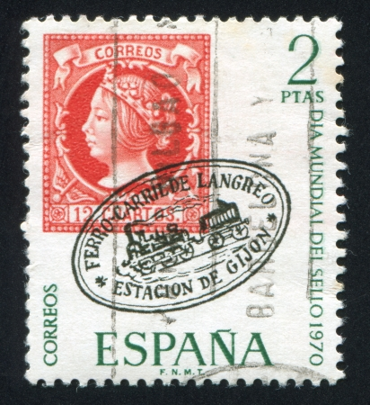 queen isabella: SPAIN - CIRCA 1970: stamp printed by Spain, shows Ferro Carril de Langreo, circa 1970