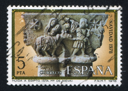 SPAIN - CIRCA 1978: stamp printed by Spain, shows Flight into Egypt, Capital from St. Mary de Nieva, circa 1978 Stock Photo - 16337784