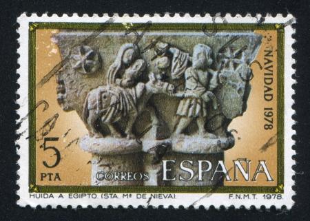 SPAIN - CIRCA 1978: stamp printed by Spain, shows Flight into Egypt, Capital from St. Mary de Nieva, circa 1978 Stock Photo - 16337784