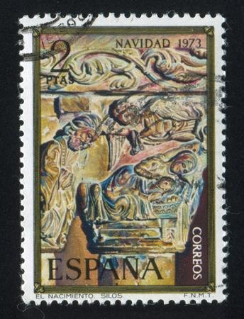 SPAIN - CIRCA 1973: stamp printed by Spain, shows Nativity, Column Capital, Silos Church, circa 1973 Stock Photo - 16337799