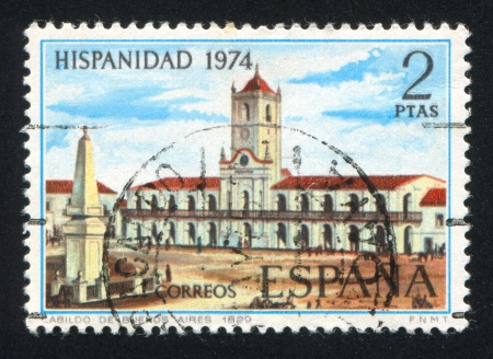 diplomatic: SPAIN - CIRCA 1974: stamp printed by Spain, shows Municipal Council Building, circa 1974